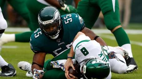 Brandon Graham takes down Luke Falk in the