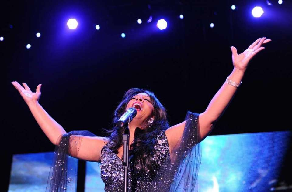 American singer Donna Summer performs on stage in