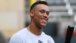 Yankees rightfielder Aaron Judge  at a workout