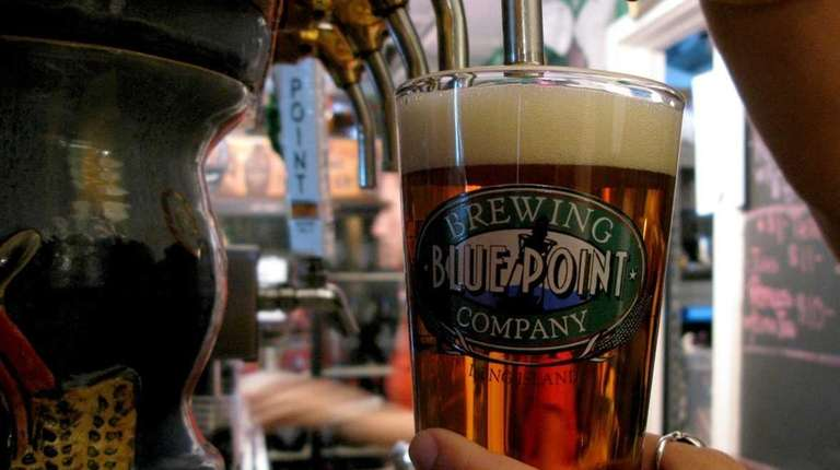 A pint of Blue Point Brewing Company beer