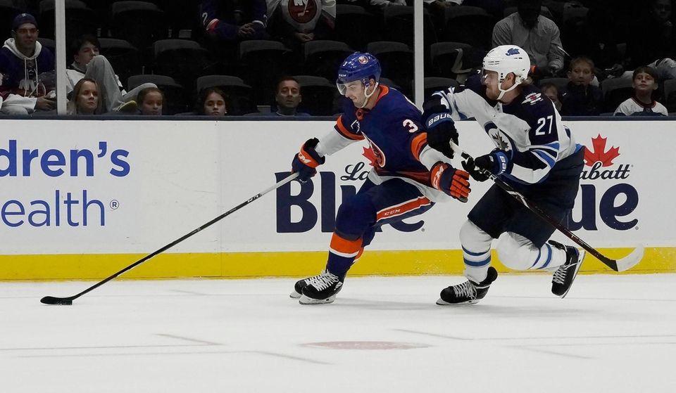 New York Islanders defenseman Adam Pelech (3) skates