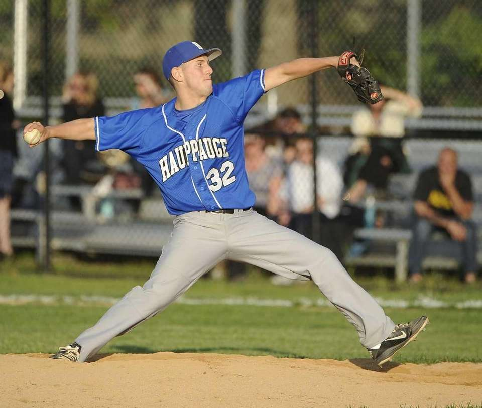 Hauppauge pitcher Nick DelRe pitches for the last