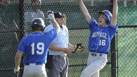 Hauppauge's Sean Prahalis scores in the tenth inning