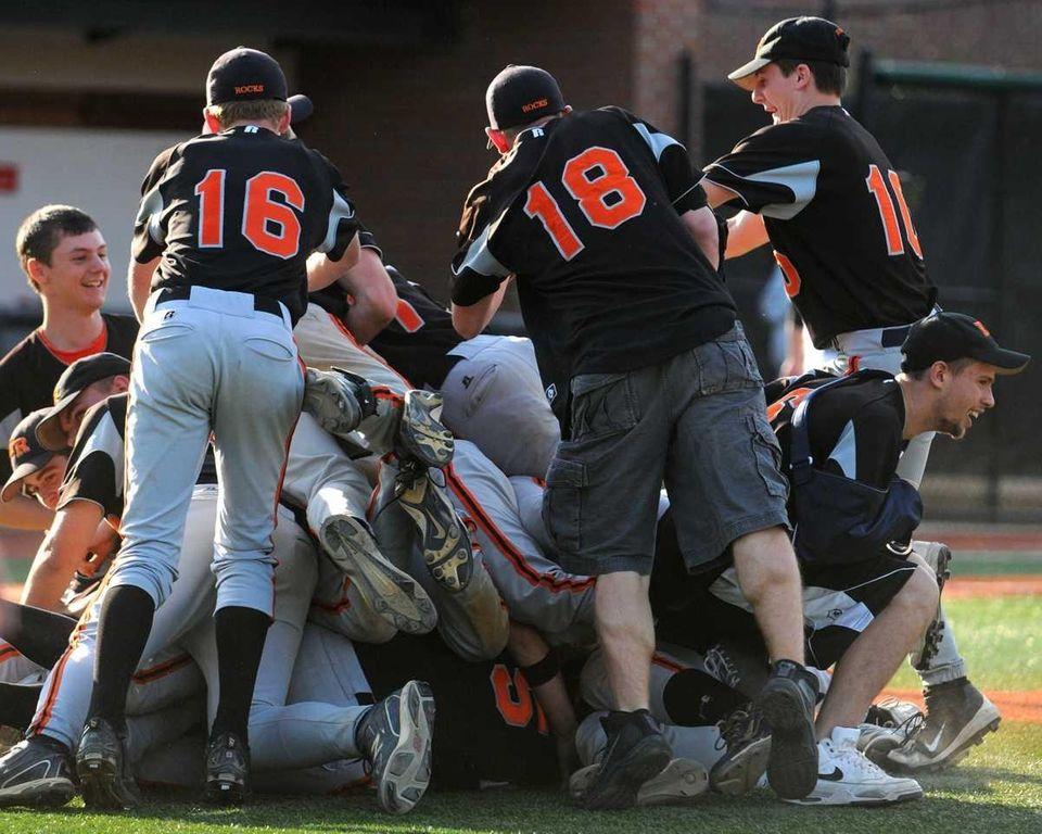 East Rockaway teammates mob together in celebration of