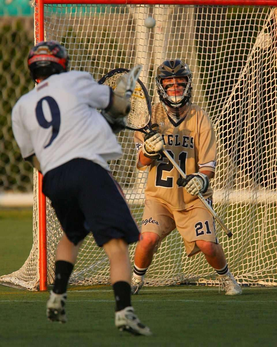 Manhasset's Mike Fahey shoots on goal as Bethpage's