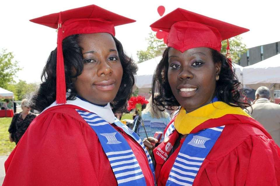 Jessica Raphael, left, and Cindy Auguste, right, are