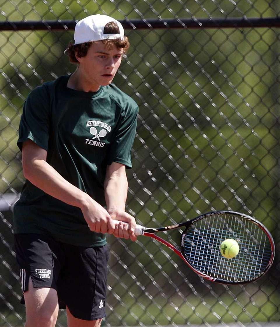 Boys doubles finalist Cooper Lacetera of Westhampton Beach