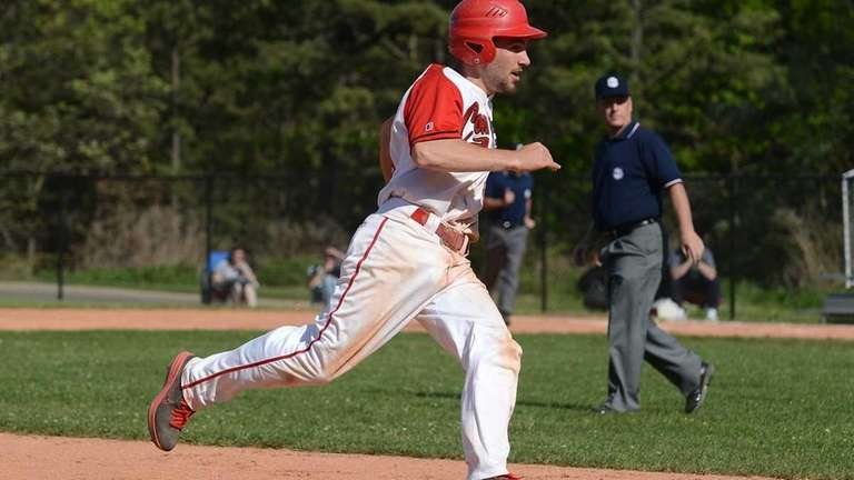 Connetqout's Steven Schmitt looks to score from second.