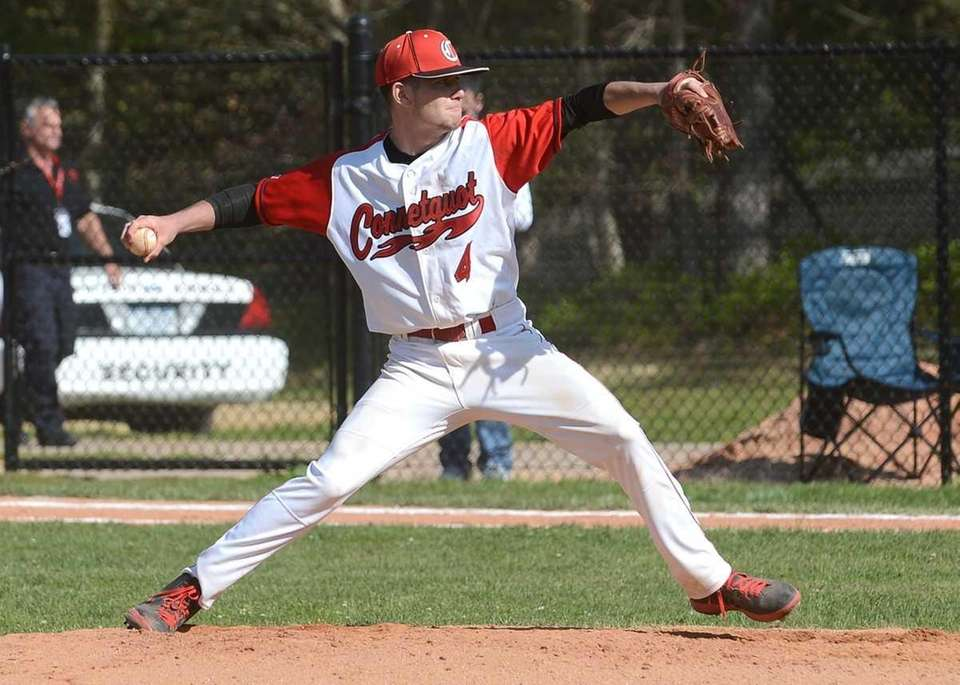 Connetquot's James Higgins pitched five strong innings. (May
