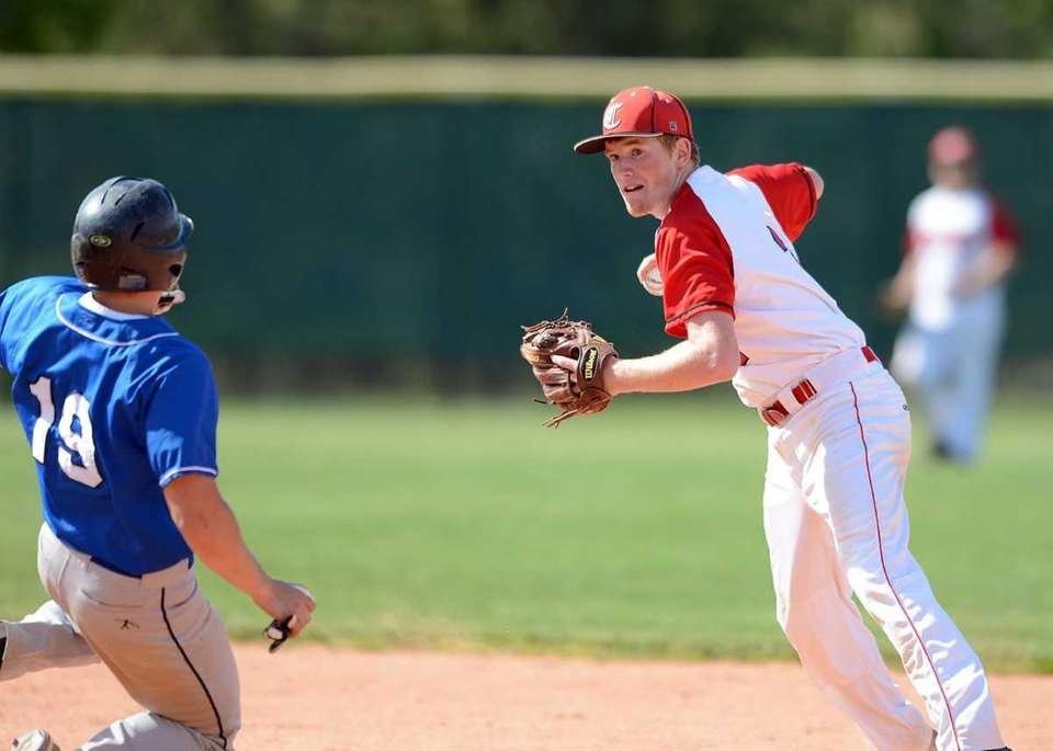 Connetqout's Casey Baker gets the out at second