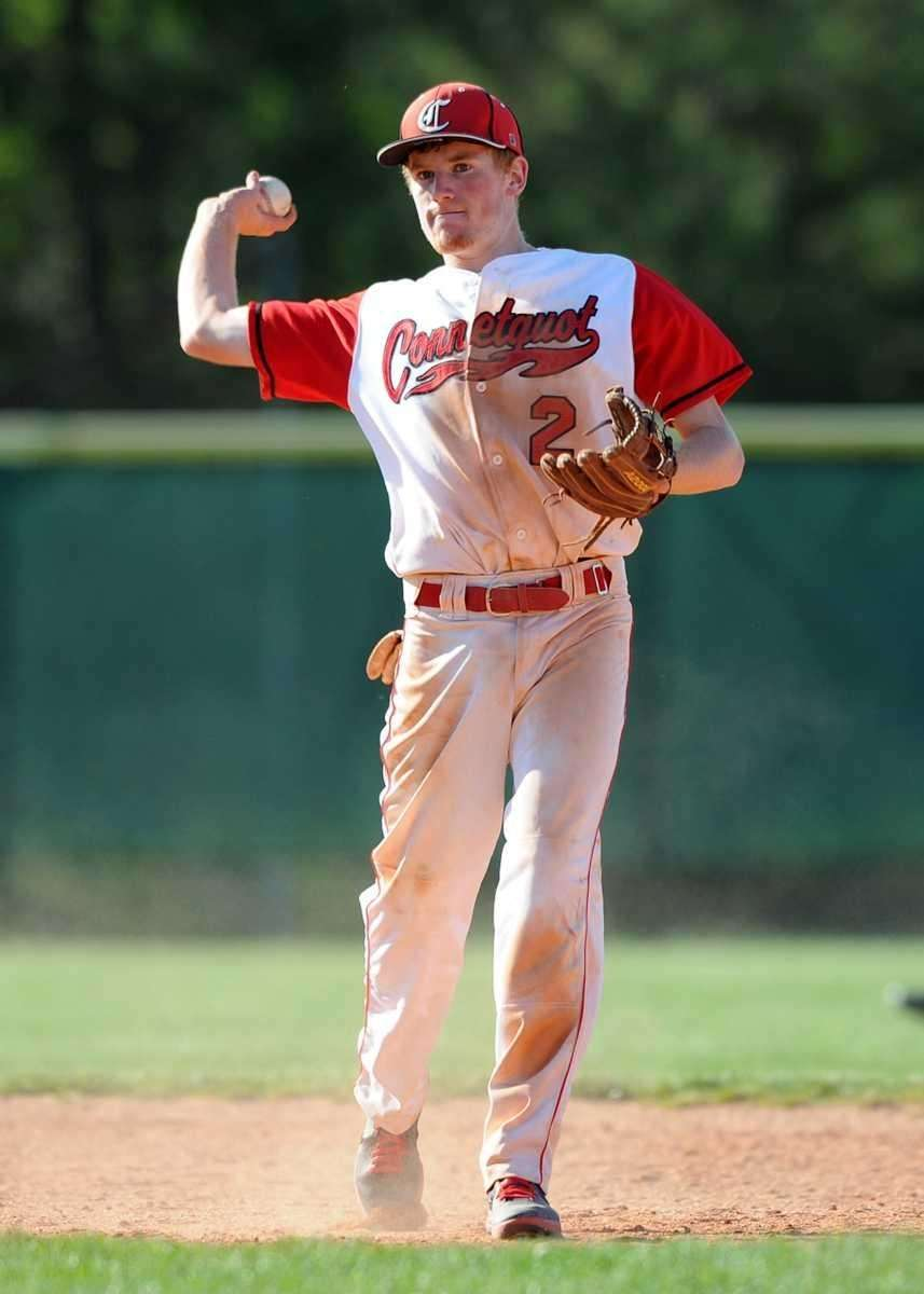 Connetqout's Casey Baker throws to first for the