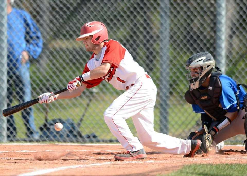 Connetquot's Justin Scala lays down a bunt. (May