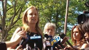 Kerry Kennedy addresses the media shortly before the