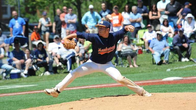 Manhasset starting pitcher Tyler Juliano delivers to the