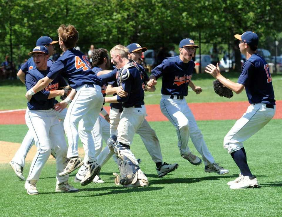 Manhasset players celebrate after beating Bethpage, 5-3. (May