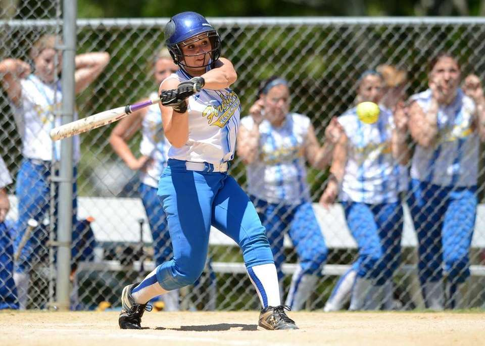 Kellenberg's Alexandra Pisciotta connects for a single. (May