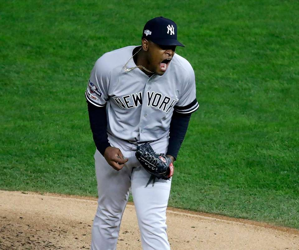Yankees starting pitcher Luis Severino reacts in the