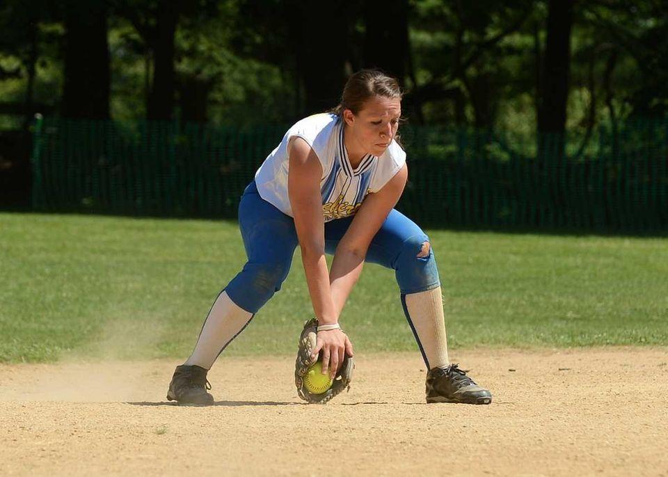 Shortstop Amanda Crimarco of Kellenberg makes the play.
