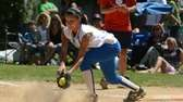 Kellenberg's Sabrina DeAngelis digs the ball out of