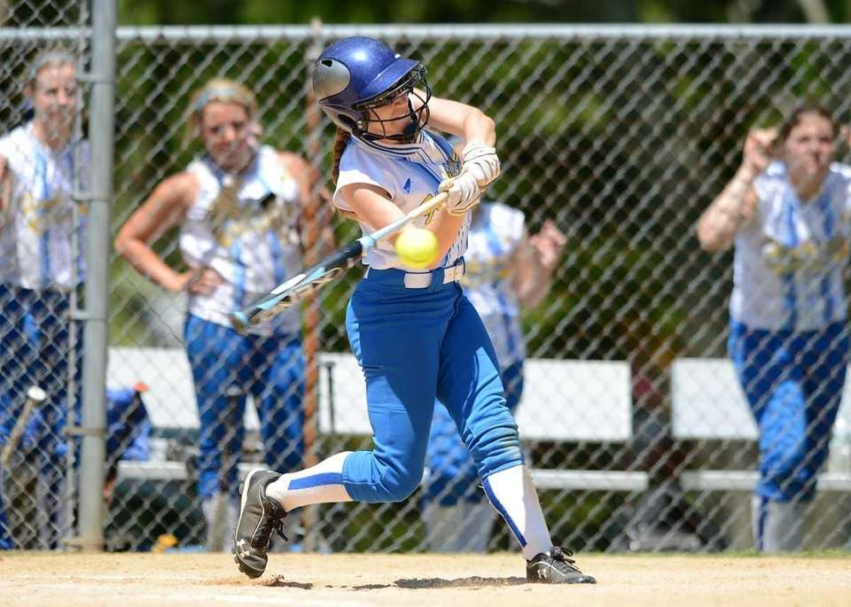 Kellenberg's Stephanie Staiano connects for a two-run single.