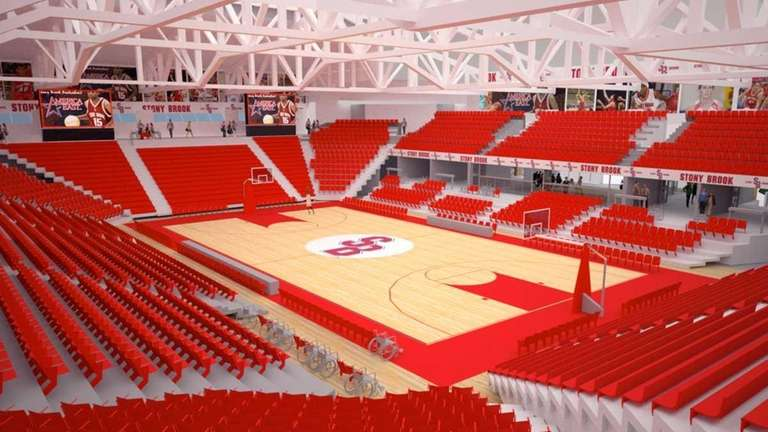 An artist's rendering of renovated Stony Brook Arena.