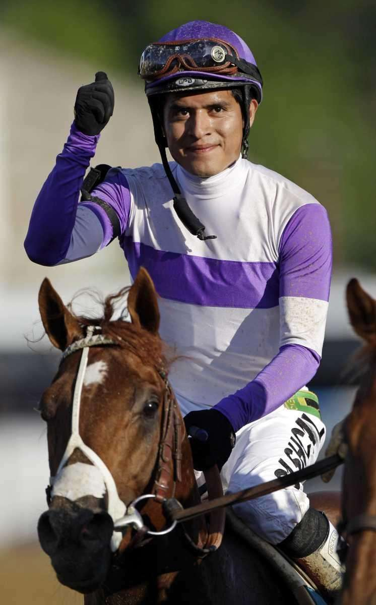 Jockey Mario Gutierrez reacts aboard I'll Have Another