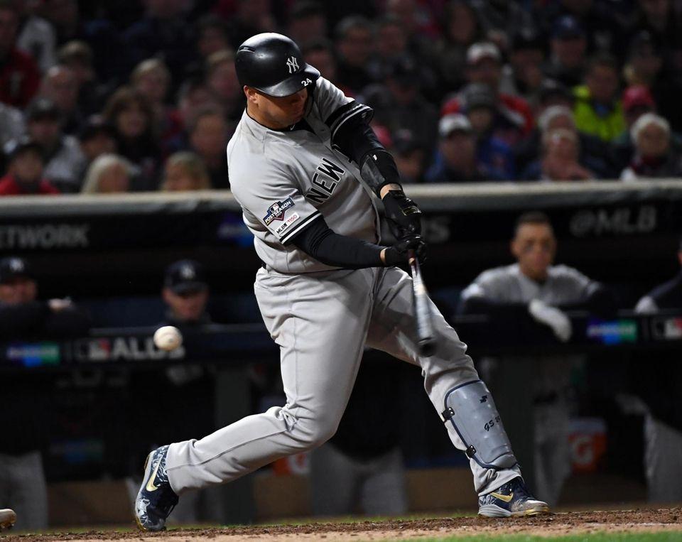 New York Yankees catcher Gary Sanchez (24) swings