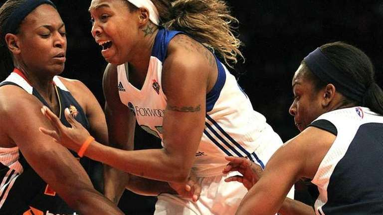 Cappie Pondexter gets fouled during the Liberty's home