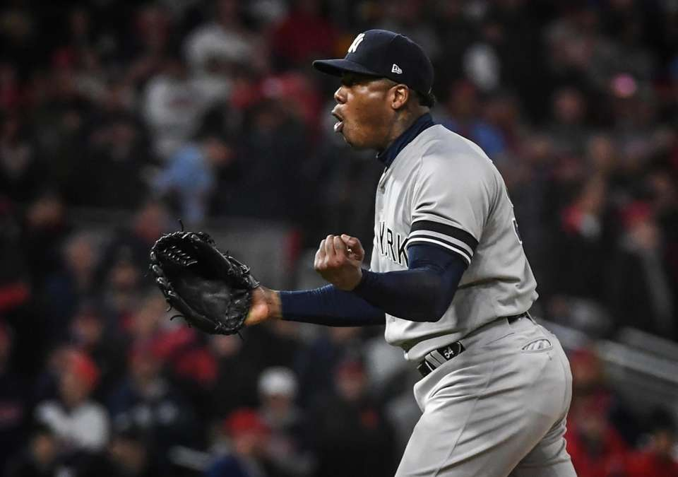 New York Yankees Aroldis Chapman celebrates their ALDS