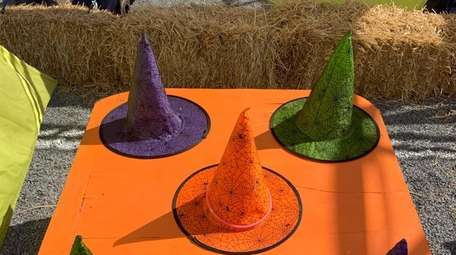 A witch's hat ring toss at Hicks Nurseries