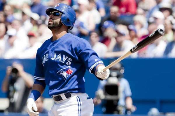 Toronto Blue Jays' Jose Bautista watches the flight