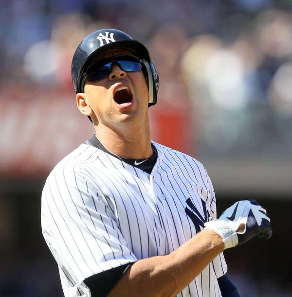 Alex Rodriguez reacts after almost hitting an eighth