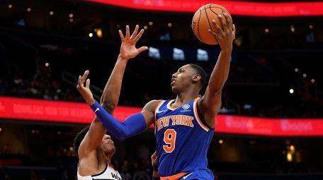RJ Barrett of the Knicks shoots over Washington