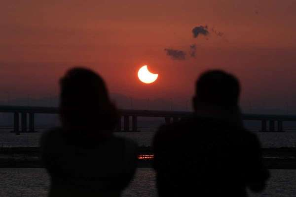 A partial annular solar eclipse is seen from