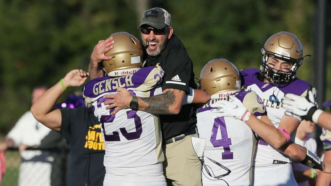 Sayville's Jayson Gensch and head coach Reade Sands