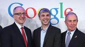 Cornell University president David Skorton, left, Google co-founder