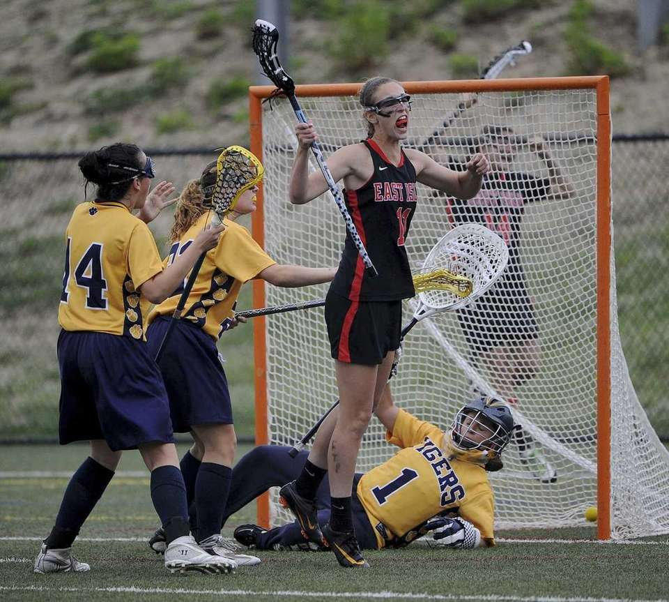East Islip's Jackie Niciforo reacts after scoring the