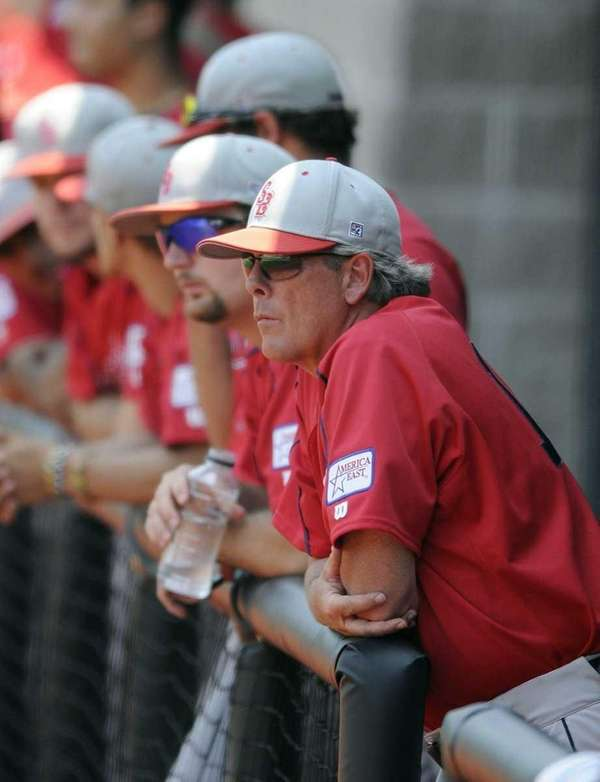 Stony Brook baseball coach Matt Senk watches as