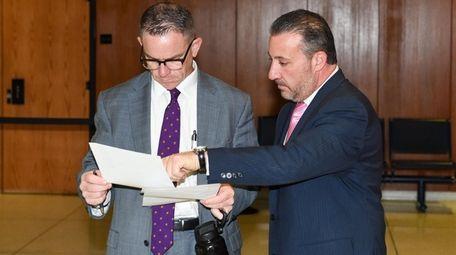 Prosecutor Brendan Ahern, left, and Steven Politi, Thomas