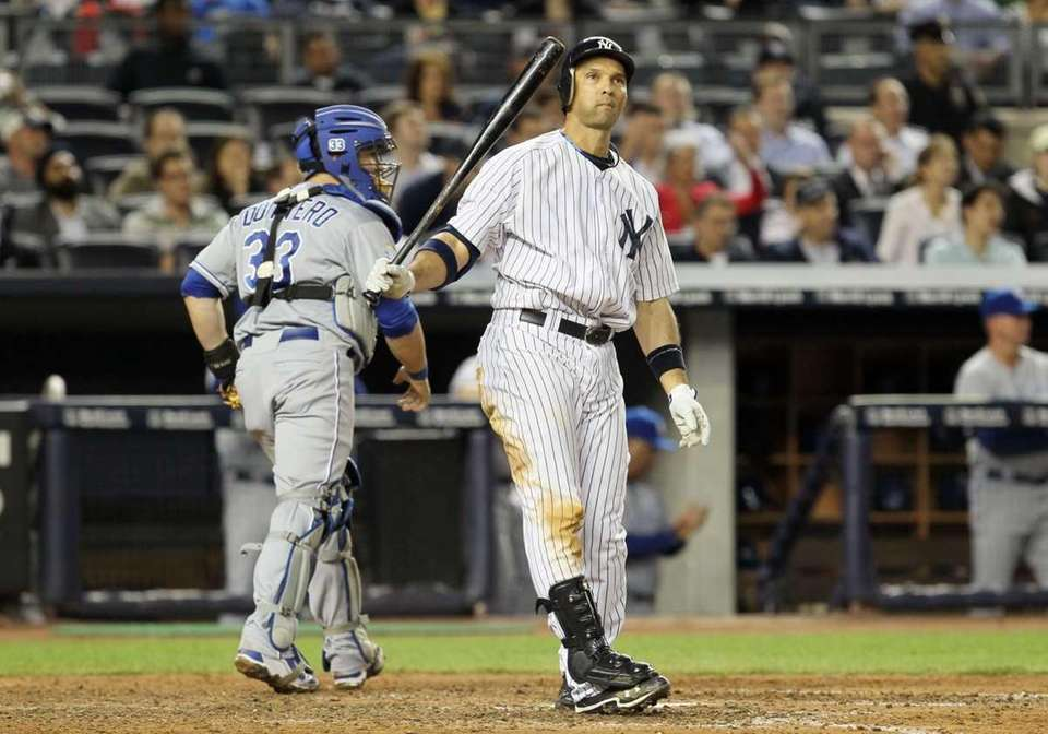 Raul Ibanez reacts after striking out with the