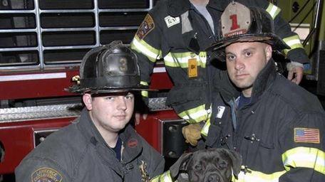 Lawrence-Cedarhurst volunteer firefighters, from left, Joseph McHugh, 22,