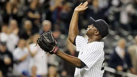 Rafael Soriano celebrates after the Yankees defeated the