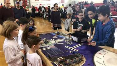 Sixth- and seventh-graders from Mineola Middle School share