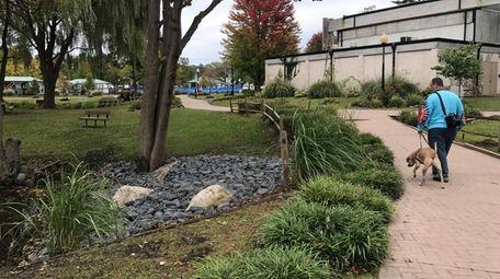 Stones were placed near a pond in Heckscher