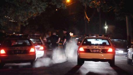 Police at the scene on Galvani Street in