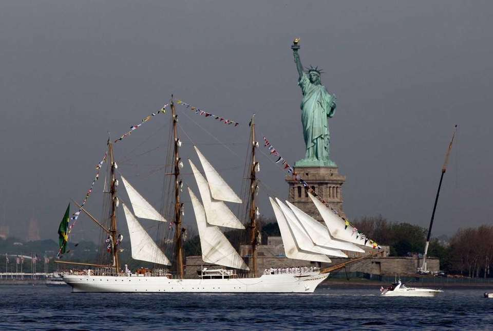 The Cisne Branco, from Brazil, sails by the