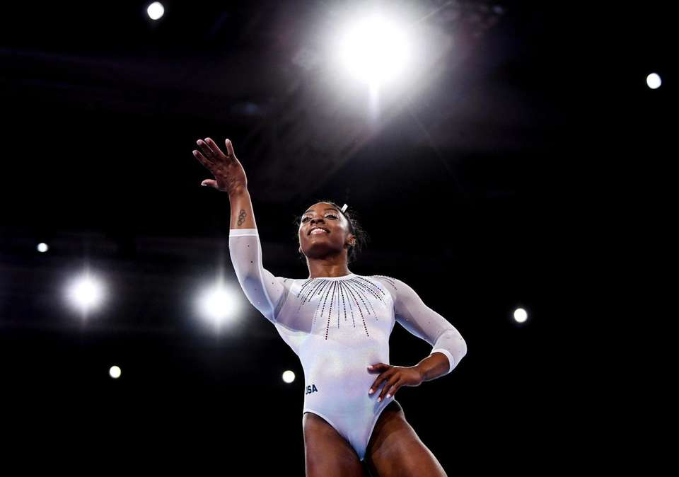 Simone Biles competes during the women's all-around final