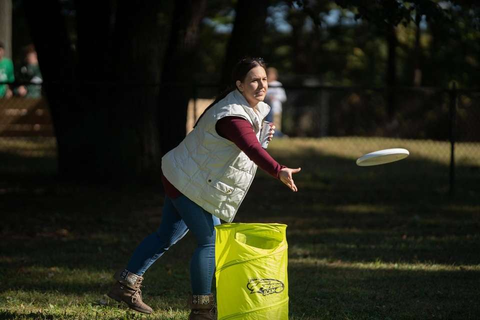 Jessica Colombo, 23, of Babylon throws a frisbee