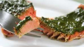 Wild Sockeye salmon is topped with a puree