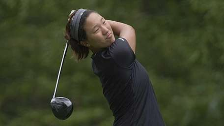 MacArthur's Annie Park teeing off at the 18th